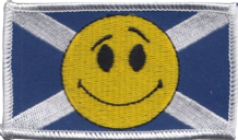 Scotland Saltire Happy Face Rectangular Embroidered Badge (a504)